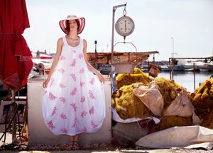 Summer lady in the old port