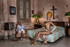 Joana Gonzalez  sat with her grandmother - Havana 2017