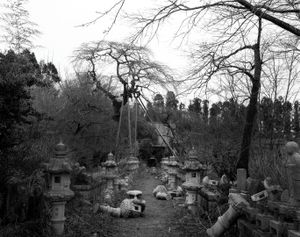 """Stone lanterns in the shrine just a few hundred meters outside of the exclusion zone. The scene has been left as it fell 2 and half years ago when the Great Tohoku earthquake first hit Japan. From the series """"Fragments/Fukushima"""" © Kosuke Okahara"""