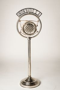 Microphone used by General Francoist Gonzalo Queipo de Llano and Sierra from Unión Radio Sevilla. From the Spanish Army Museum.