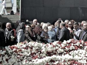Armenians gather at the genocide memorial on the international Armenian Genocide Remembrance Day that takes place on April 24. They put flowers, mainly carnations, around the eternal fire of the sanctuary.