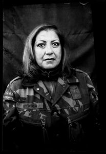 """KABUL PORTRAITS. """"Captain Fariba, interpreter"""". Portraits of Dutch ISAF troops in Kabul, Afghanistan. The photos are taken with the antique box camera, borrowed from an Afghan street photographer in Kabul. The exposure time of each photo was 10 seconds."""