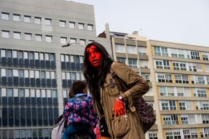 A female version of Hellboy is waiting for the unexpected. Barcelona. 2016