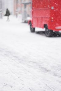 Red van in the Snow