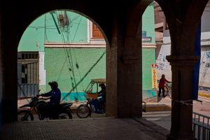 Colonnade at the Plaza de Armas, Calca, Peru