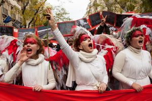 Red Lines climate protest during COP 21, Paris, 2015.