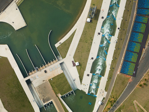 The Whitewater Stadium holds 25 million liters of water and has two slalom courses a 250m competition course and a 200m training course, Deodoro, 2016