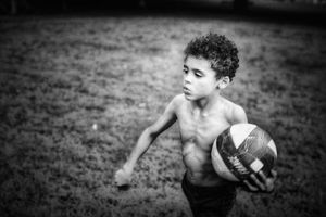 Young boy BW