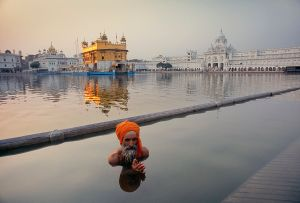 Amritsar, India: A pilgrim during his ritual washing in lake Sarovar, in the centre of which stands the famous Sikh temple Hari Mandir, The golden temple. © Matjaz Krivic