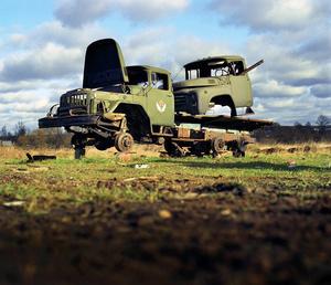 Russia, Yeremino. Soviet Army trucks