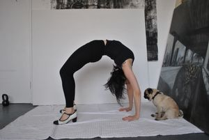 Koko supervising wheel pose