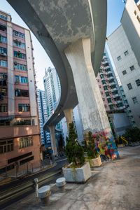 A road threads through buildings near Hong Kong University.