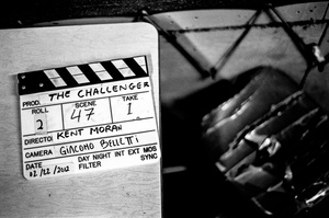 Clapperboard, used to identify a scene and align sound and picture.