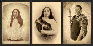 Carte de Visite triptych, from the series Tā Moko - Modern Māori Warriors