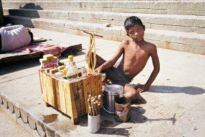 Boy Selling Snacks, Varanasi, India, 1990
