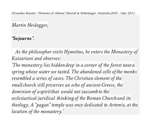 Vrasidas Karalis on Heidegger's visit to Kaisariani