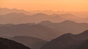 Desert hills at sunset