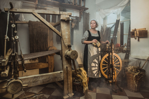 Traditional crafts. Portrait of the Yarn Spinner