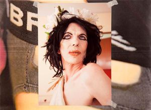 'David Hoyle: Parallel Universe' A photo-book by Holly Revell. David Hoyle portrait on close-up of Umbra pants.