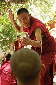 Sera Monastery is outside of Lhasa, Tibet. It is known for the dramatic debates held every day in a grove of trees. A common sight is one monk standing and, in a dramatic flourish that includes loud clapping of the hands, challenging the beliefs of a second, sitting monk. Photographed on 29 June 2005. © Forest McMullin