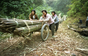 Female workers display teamwork - Guangdong province, China.