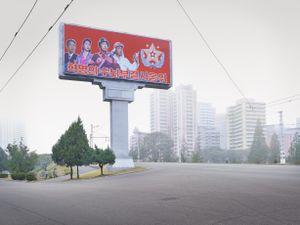 Propaganda Billboard, Pyongyang, North Korea, 2015