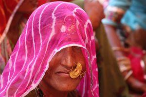 Veiled woman - Thar Desert, Rajasthan India