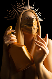 Mary the holy mother in surgical mask during Corona Pandemic