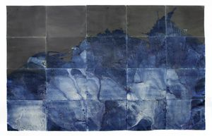 "Littoral Drift Nearshore #465 (Polyptych, Bainbridge Island, WA 11.28.16, Five Simulated Waves)76x120"", Unique Cyanotype"