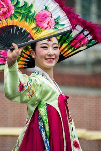 Traditional Korean Fan Dancer