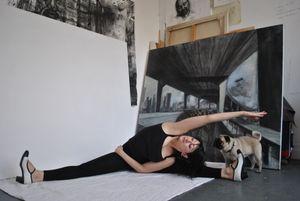Raquel in the studio