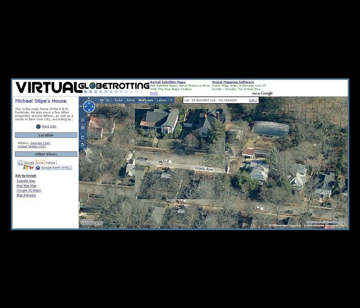 Jon Horvath - Stalking Michael Stipe: Another Prop to Occupy My Time on ibm earth maps, bing earth maps, nasa earth maps, google earth maps,